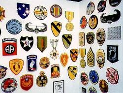 Wall display of military patches.