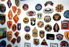 Wall of military plaques